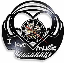 Gymqian Wall Clock I Love Music Pia Keyboard Wall