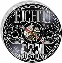 Gymqian Wall Clock Wrestling Vinyl Record Wall