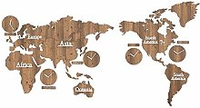 Gymqian Wall Sticker World Map Clock-Personality