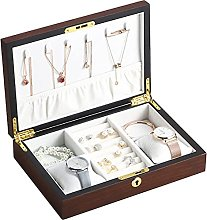 Gymqian Wooden Jewelry Boxes for Women Men Large