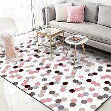 GYMS Modern Carpet, Pink Plaid Stitching Rug, for