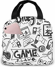 GYTHJ Computer Games Doodles Lunch Bag Tote