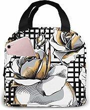 GYTHJ Gold Skull and Rose Lunch Bag Tote Bag,Work