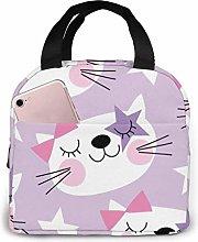 GYTHJ Purple White Cat Lunch Bag Tote Bag,Work
