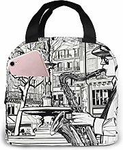 GYTHJ Saxophonist Playing Saxophone Lunch Bag Tote