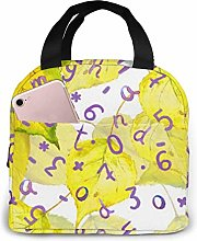 GYTHJ Yellow Leaves and Numbers Reusable Insulated