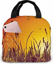 GYTHJ Yellow Wheat Reusable Insulated Lunch Bag