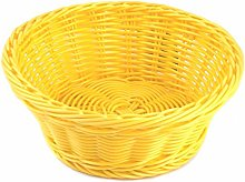 H&H 703553 Plastic Basket, Round, Yellow, 21 cm