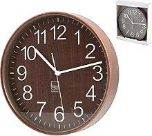 H&H 8032325 Round Wall Clock, 25 cm, Dark Wood,