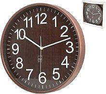 H&H 8032332 Wall Clock, Round, 32 cm, Dark Wood,