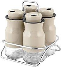 H&H Aroma Set Jars Spice Jars with Stand, Beige,