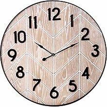 H&H Round Parquet Wall Clock, 60 cm, Brown