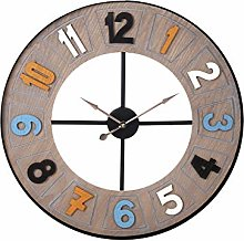H&H Wall Clock, Round, Colourful Decoration, 60