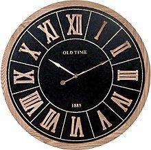 H&H Wall Clock, Round, Gold Decor, 60 cm, Black,