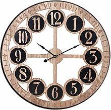 H&H Wall Clock, Round, Spheres, 60 cm, Brown, 60 cm