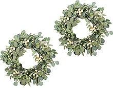 H HILABEE 2x 22inch Eucalyptus Wreath Outdoor