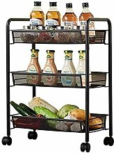 H.ZHOU 3-Tier Kitchen Trolley Rolling Cart