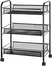 H.ZHOU Trolley Storage 3 Tier Rolling Cart Kitchen