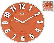 HABI Round Wall Clock, Plastic 25 cm Orange