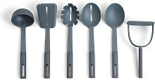 Habitat 6 Piece Utensil Set with Holder - Blue