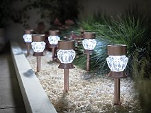 Habitat 6 Rose Glass Stake Solar Lights