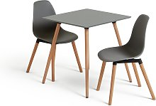 Habitat Berlin Grey Dining Table & 2 Grey Chairs