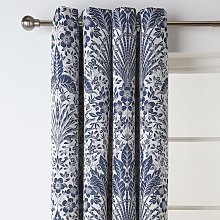 Habitat Bouquet Fully Lined Eyelet Curtains - Navy