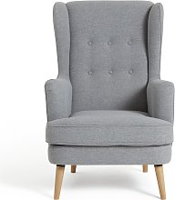 Habitat Callie Fabric Wingback Chair- Light Grey