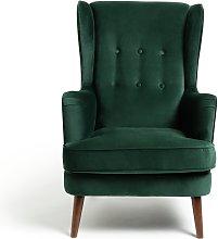 Habitat Callie Velvet Wingback Chair - Forest Green