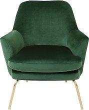 Habitat Celine Velvet Accent Chair - Green