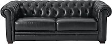 Habitat Chesterfield 3 Seater Leather Sofa - Black