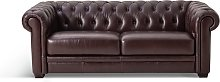 Habitat Chesterfield 3 Seater Leather Sofa - Walnut