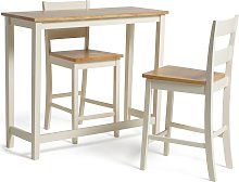 Habitat Chicago Solid Wood Bar Table & 2 Two Tone