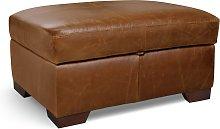 Habitat Eton Leather Storage Footstool - Tan