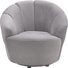 Habitat Ezra Velvet Swival Chair - Light Grey