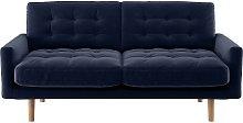 Habitat Fenner 2 Seater Velvet Sofa - Navy