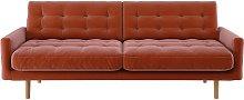 Habitat Fenner 3 Seater Velvet Sofa - Orange