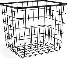 Habitat Flat Wire Squares Plus Storage Basket - Black
