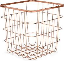 Habitat Flat Wire Squares Storage Basket - Rose