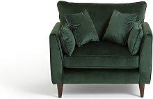 Habitat Hector Velvet Cuddle Chair - Green