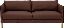 Habitat Hyde 3 Seater Leather Sofa - brown