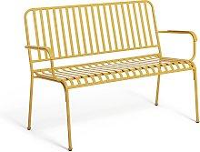Habitat Indu 3 Seater Metal Bench - Yellow