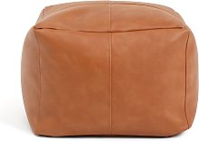 Habitat Industrial Faux Leather Pouffe - Brown