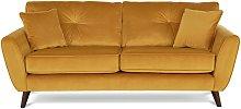 Habitat Isla 3 Seater Velvet Sofa - Gold