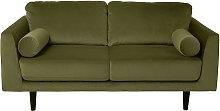 Habitat Jackson 2 Seater Velvet Sofa - Green