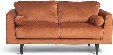 Habitat Jackson 2 Seater Velvet Sofa - Orange