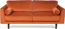 Habitat Jackson 3 Seater Velvet Sofa - Orange