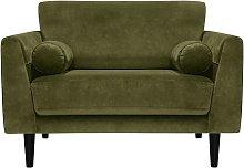 Habitat Jackson Velvet Cuddle Chair - Green