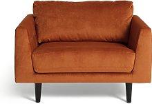 Habitat Jackson Velvet Cuddle Chair - Orange