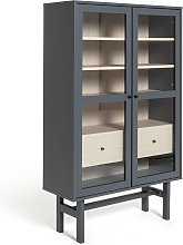 Habitat Jadon 2 Door Glass Display Cabinet - Dark